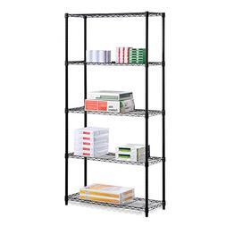 Honey-Can-Do SHF-06831 5-Tier Black Storage Shelves 18-Inche