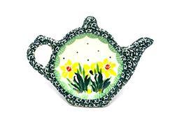 Polish Pottery Tea Bag Holder - Daffodil