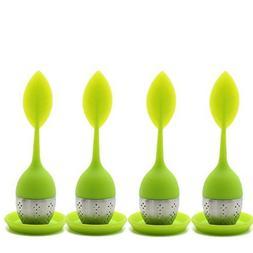 Set of 4 Tea Infuser Leaf Strainer Handle with Steel Ball Si