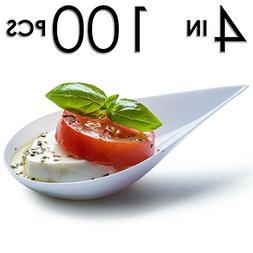 DLux 100 4-in Tear Drop Mini Appetizer Plates, White Plastic
