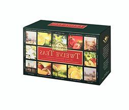 Ahmad Tea Twelve Teas Variety Gift Box, 60 Foil Enveloped Te
