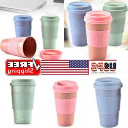 US Reusable Coffee Tea Cup Mug Wheat Straw Travel Cup with S
