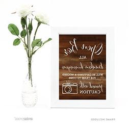 Andaz Press Wedding Framed Party Signs, Rustic Wood Print, 5