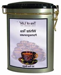 Tea of Life white tea pomegranate 50 ct tea bag in oval tin