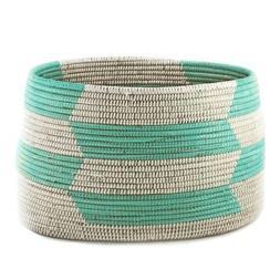 Woven Storage Basket - Aqua Herringbone